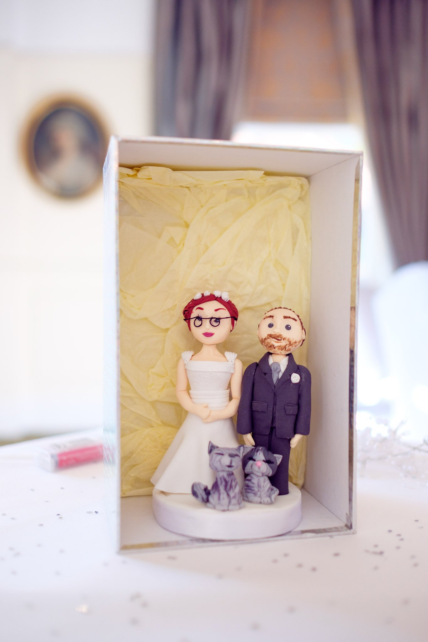 Bride, groom & cats wedding cake topper at Orsett Hall Hotel Essex