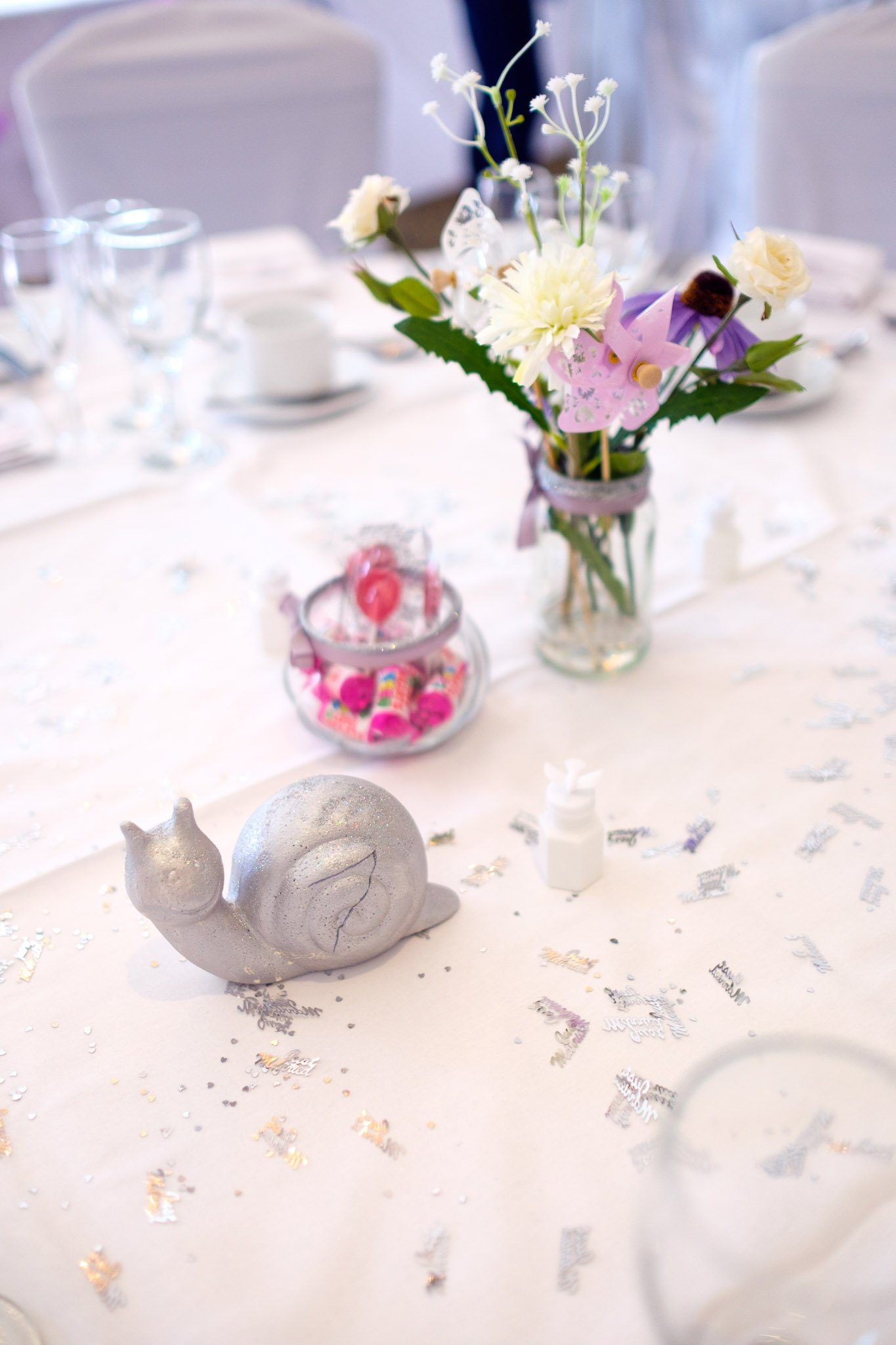Snail Wedding table decoration at Orsett Hall Hotel Essex