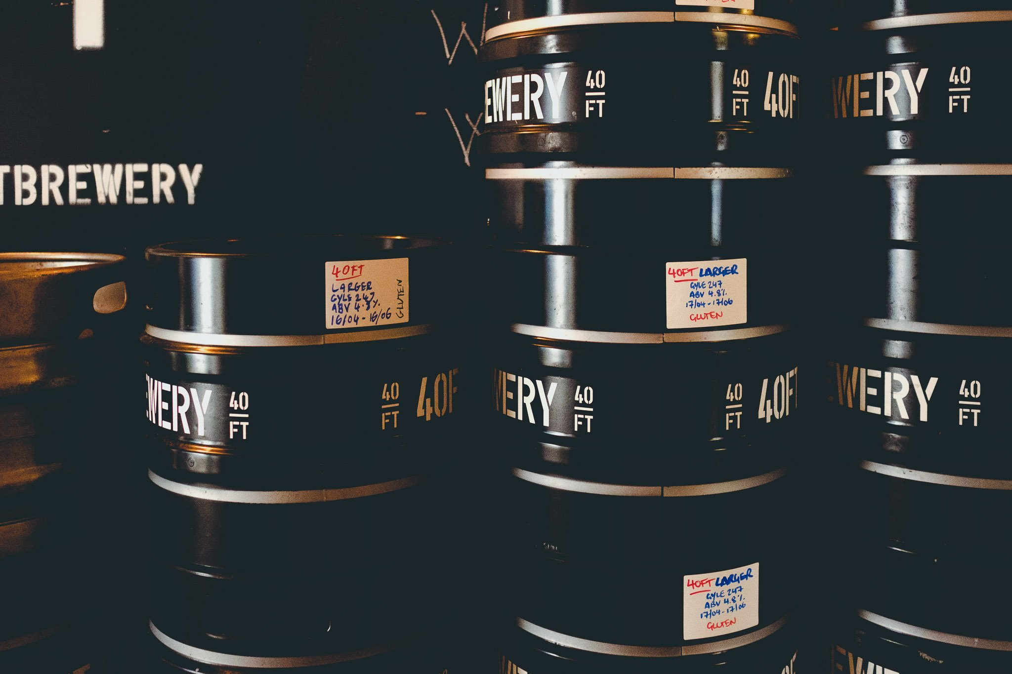 Barrels of beer at 40FT Brewery in Dalston London