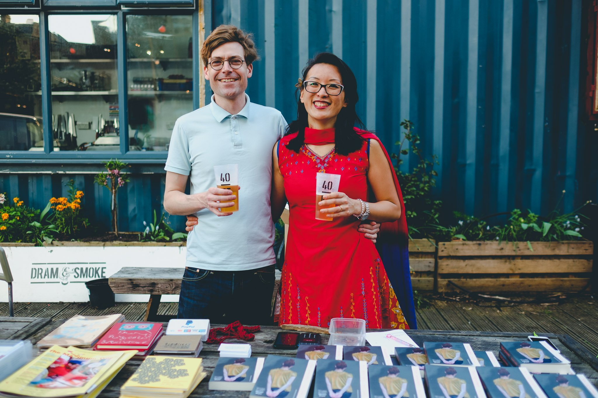David & Ping of the Henningham Family Press at 40FT Brewery in Dalston London