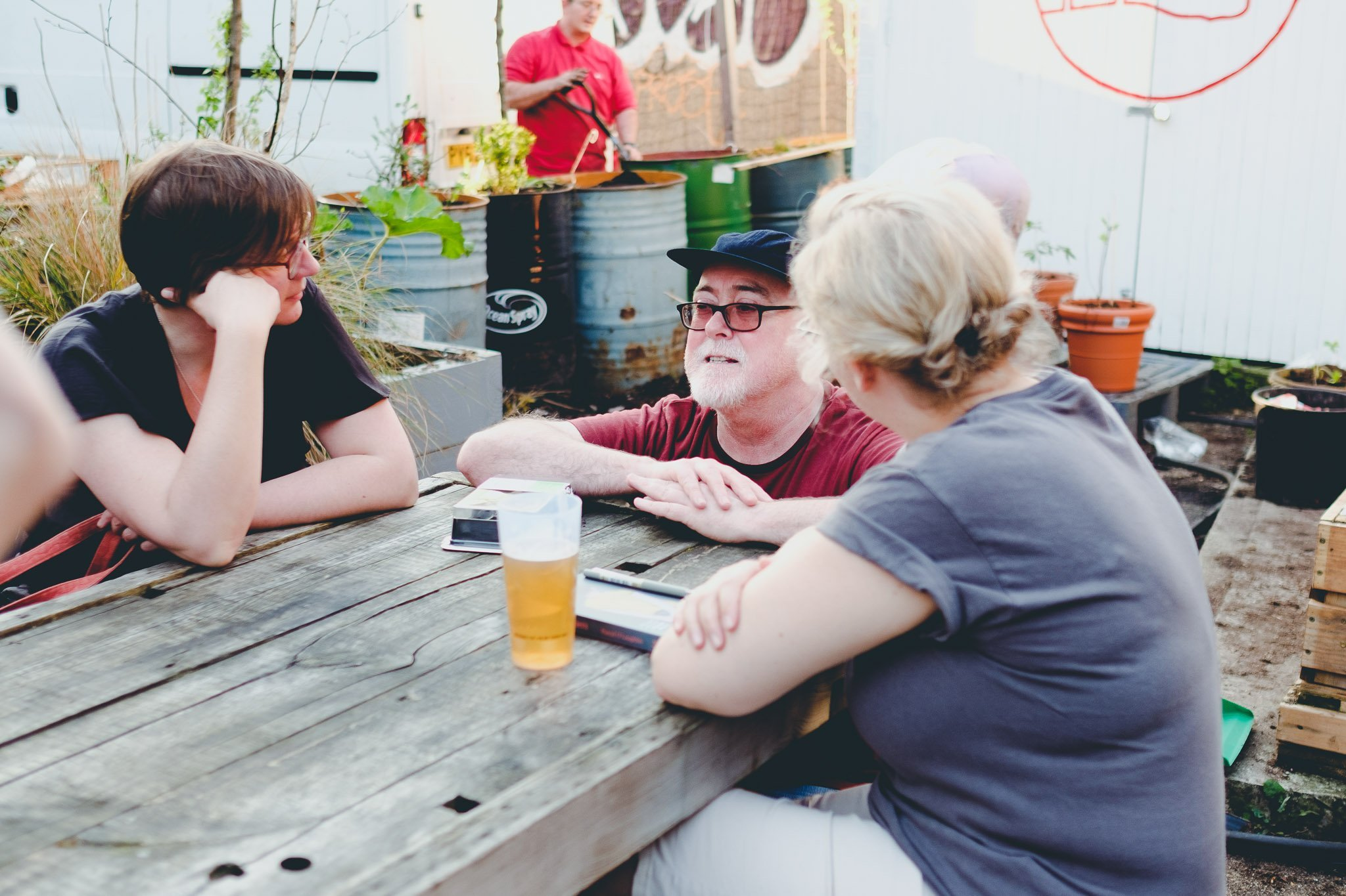 Pascal O'Loughin in talks with fans at 40FT Brewery in Dalston London