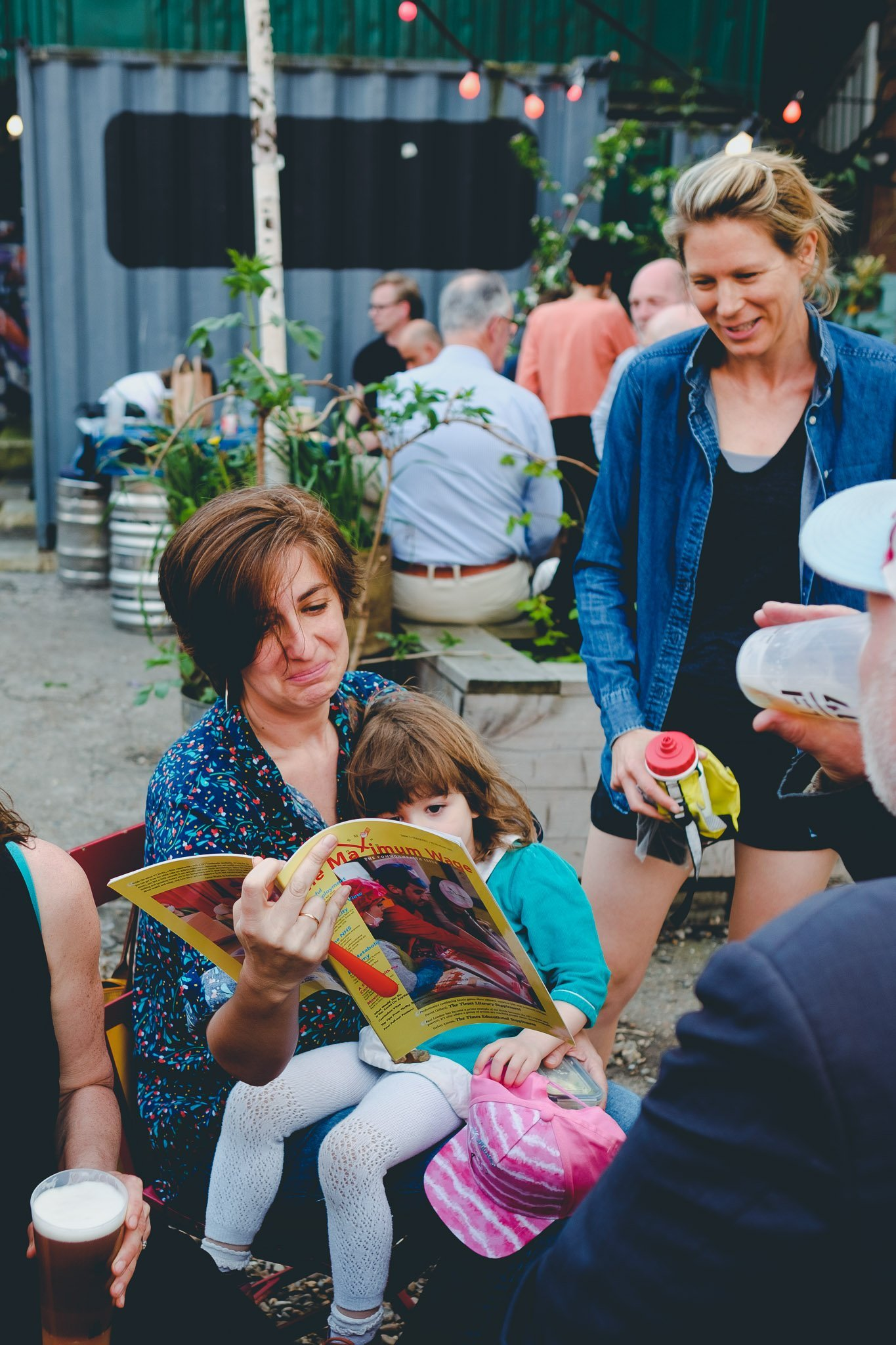 Fans reading books at 40FT Brewery in Dalston London