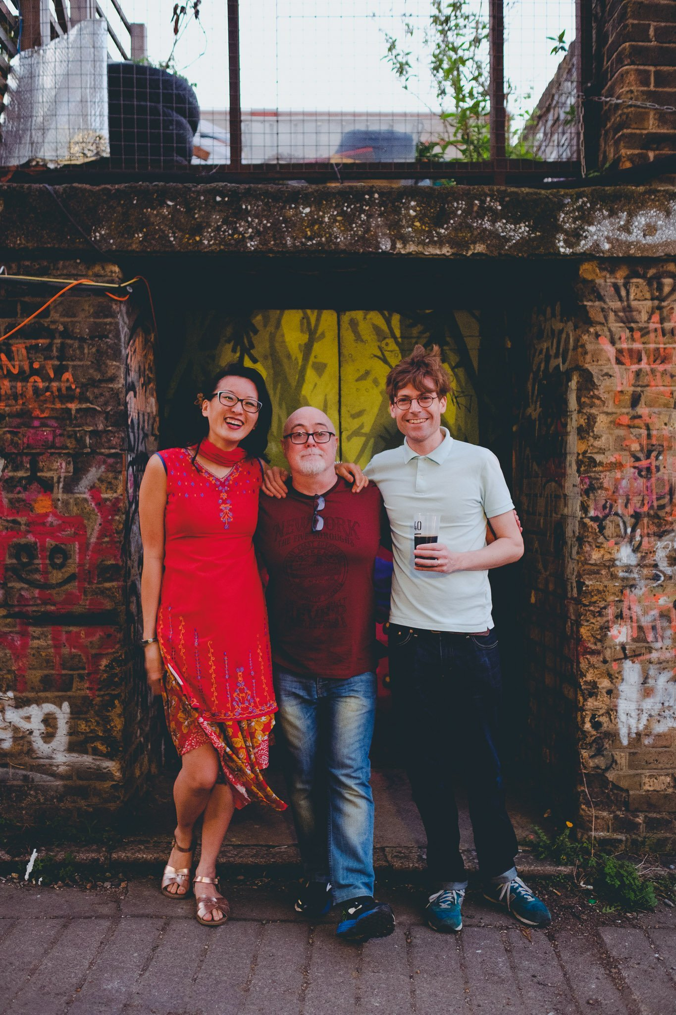 Portrait of Pascal O'Loughin & David and Ping Henningham at 40FT Brewery in Dalston London