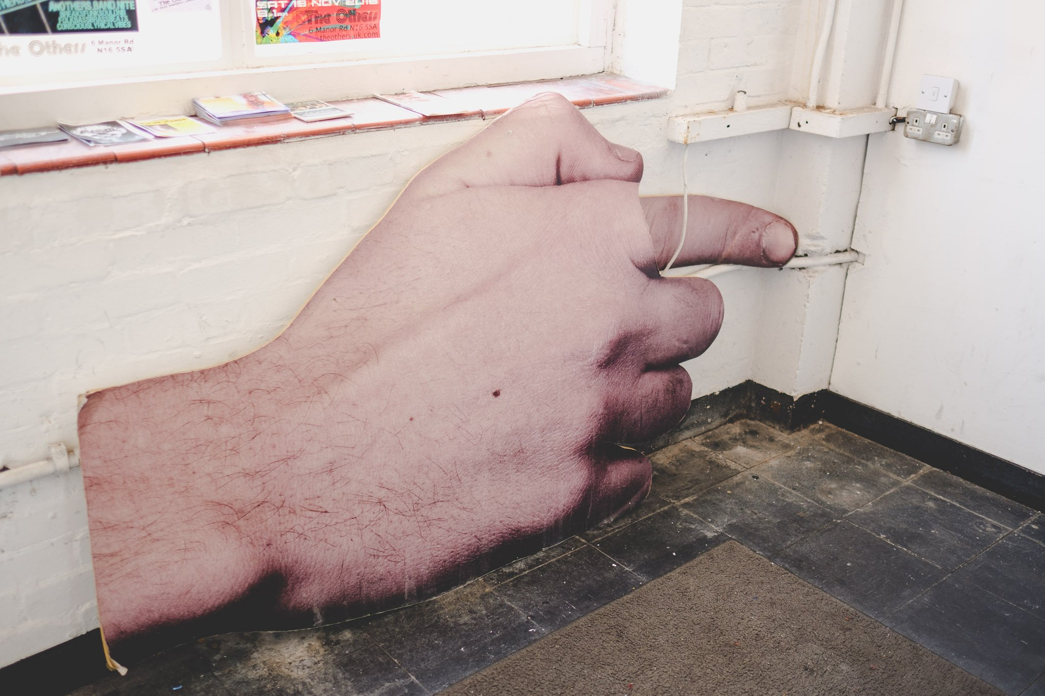 Giant hand at The Others in Stoke Newington