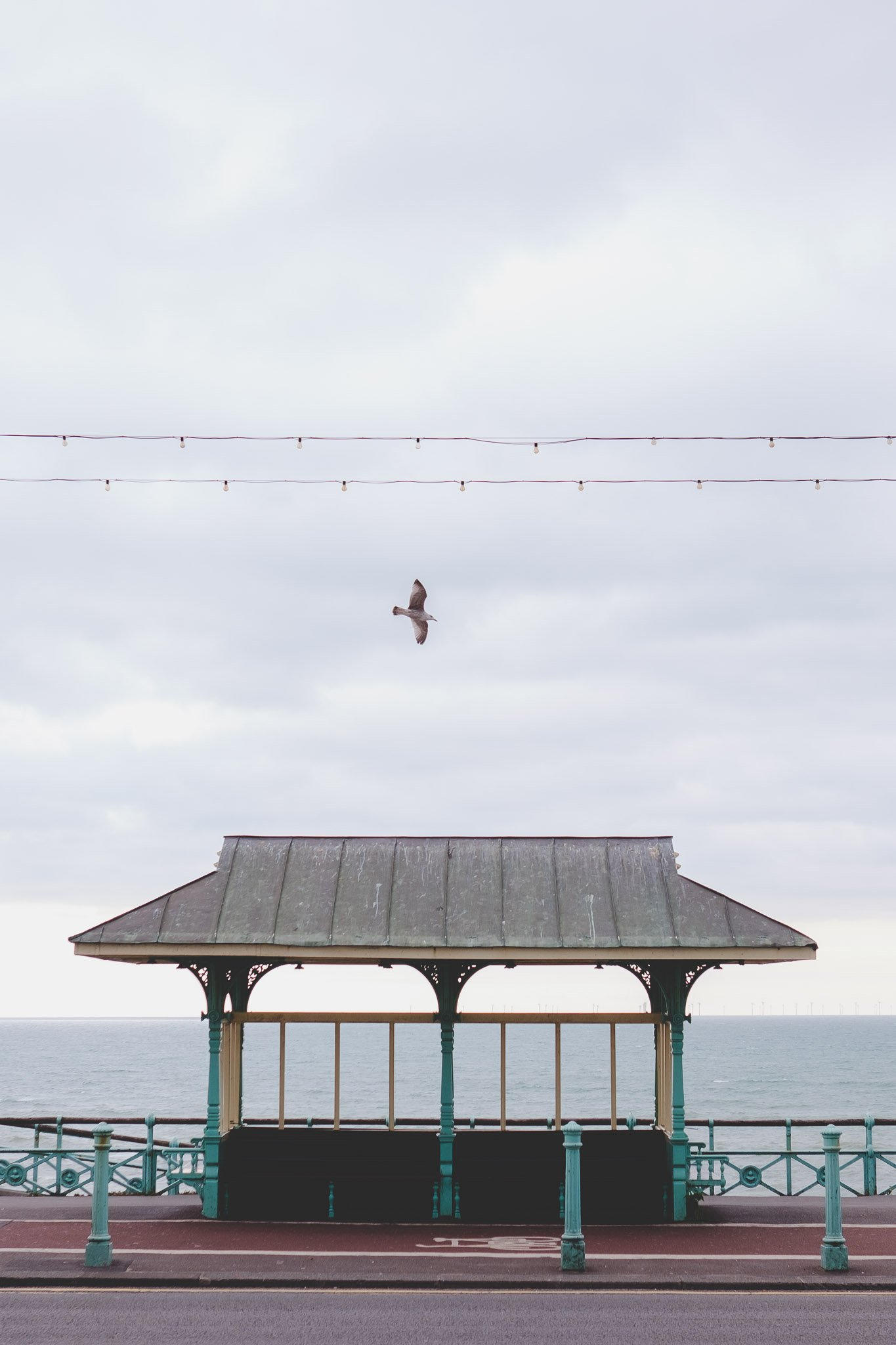 Seating shelter on Brighton Sea Front
