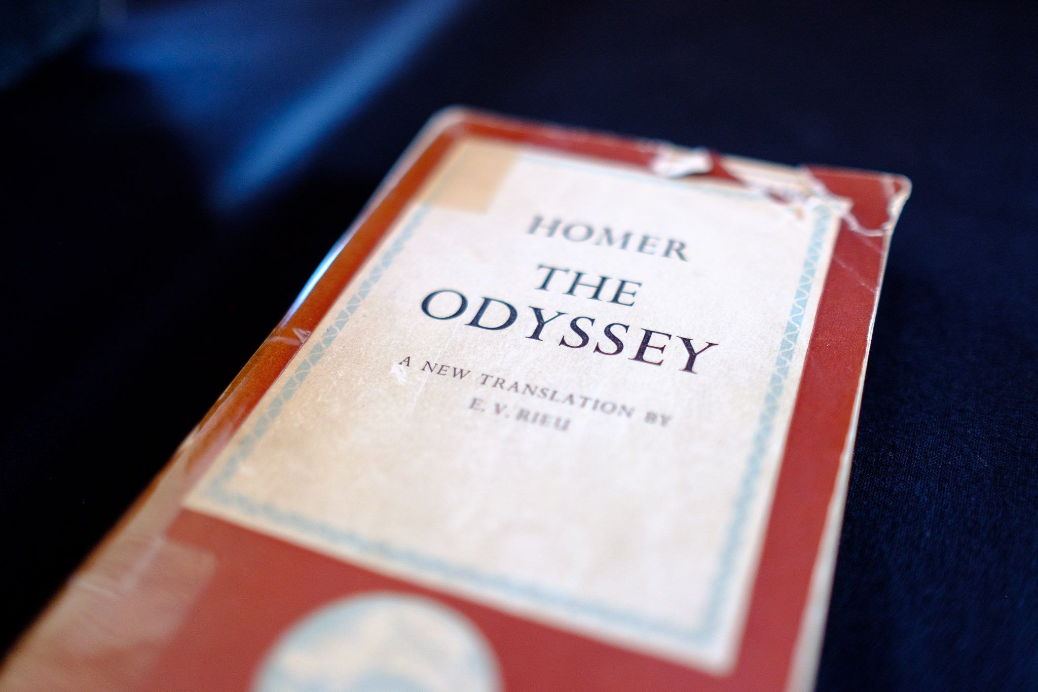 Close up detail of a copy of Homer's The Odyssey