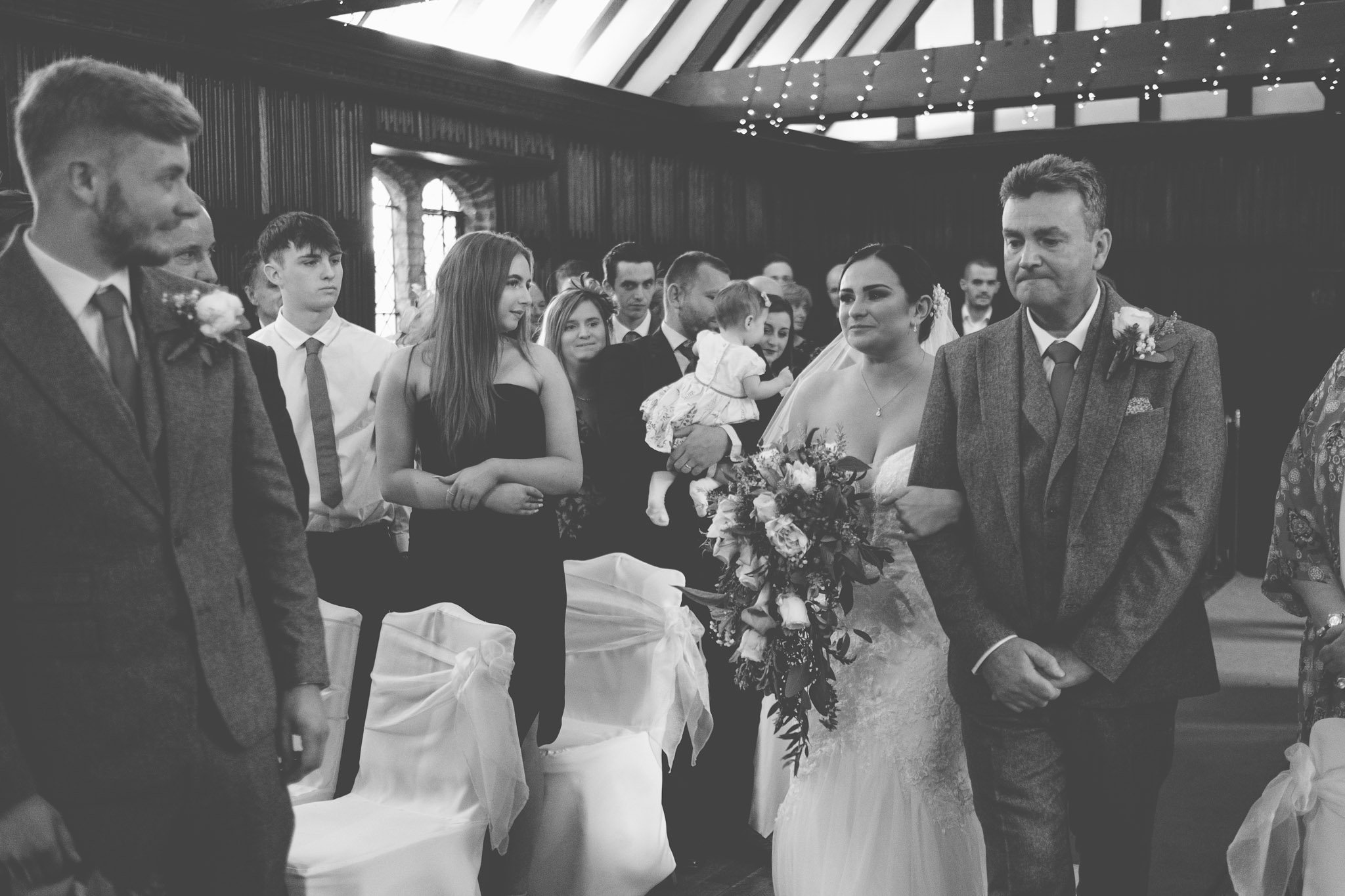 First look of bride and groom at Leez Priory wedding