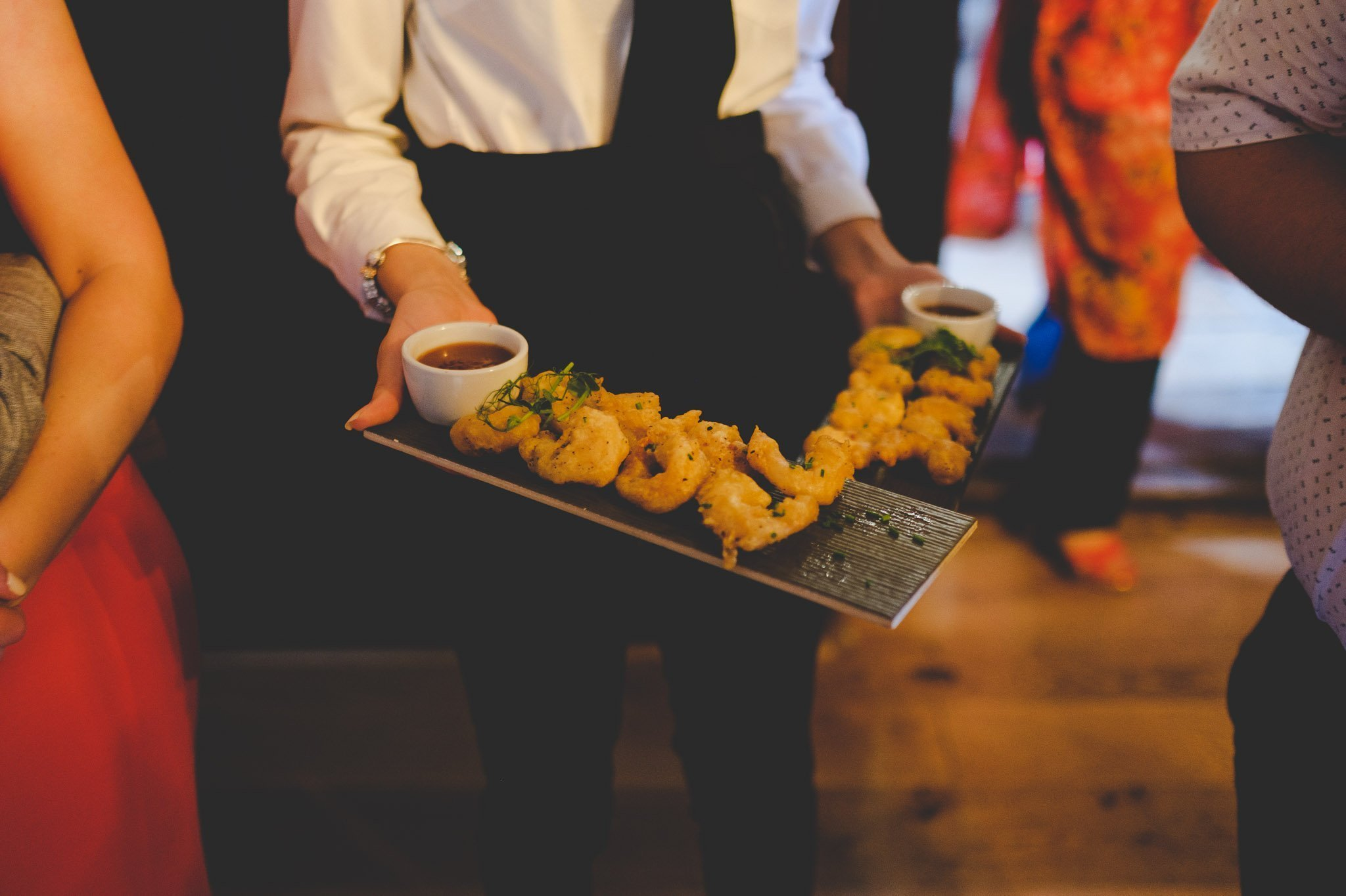 Canapes being served at Leez Priory wedding