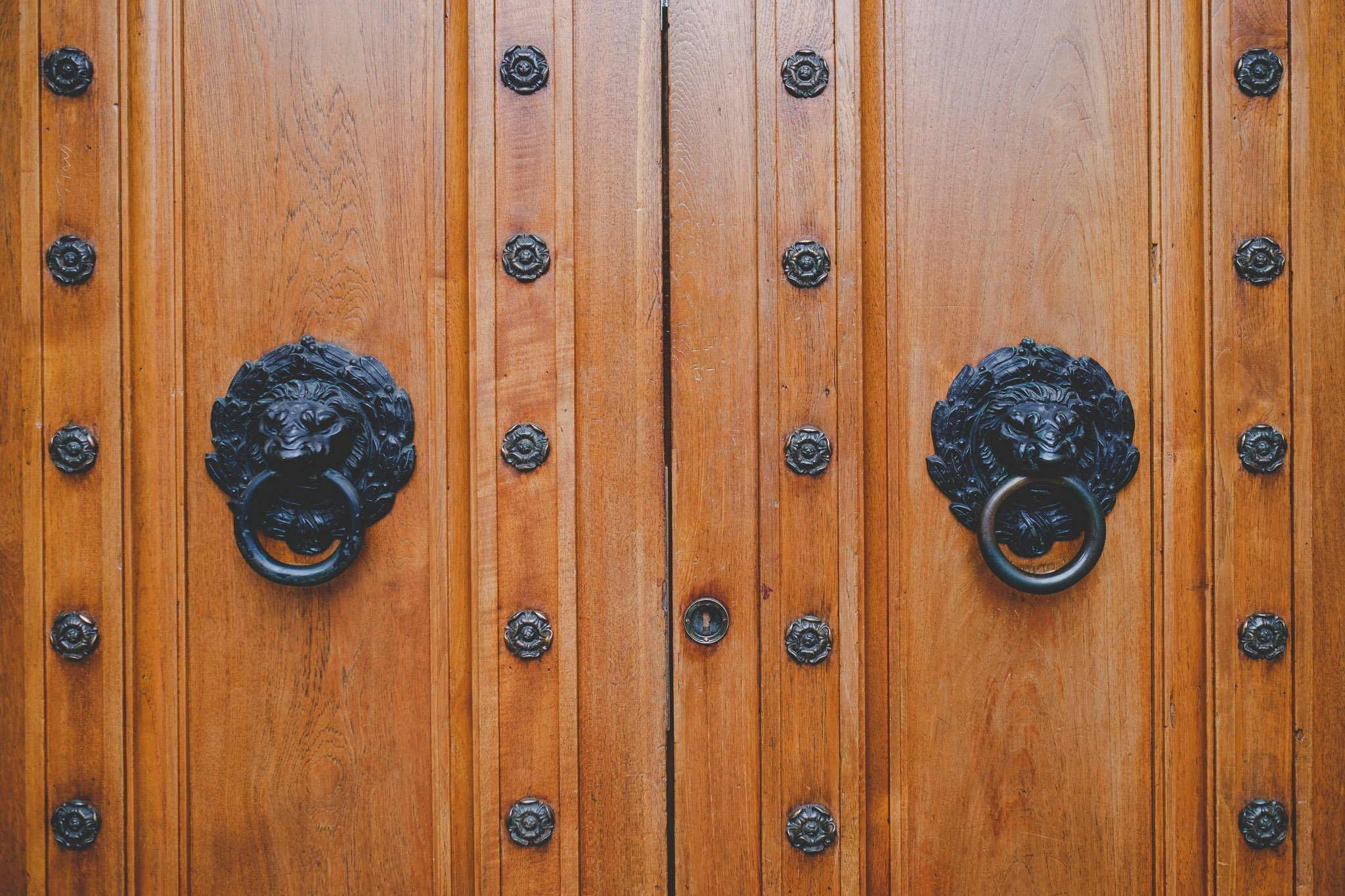 Two door knockers in the shape of a Lions head on a set of brown wooden doors