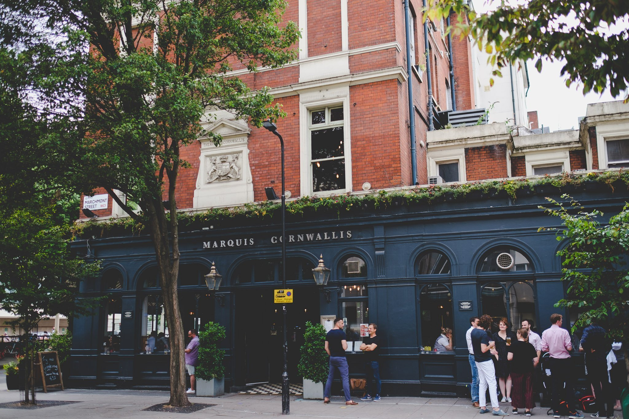 Outside of The Marquis Cornwallis Pub in Bloomsbury London